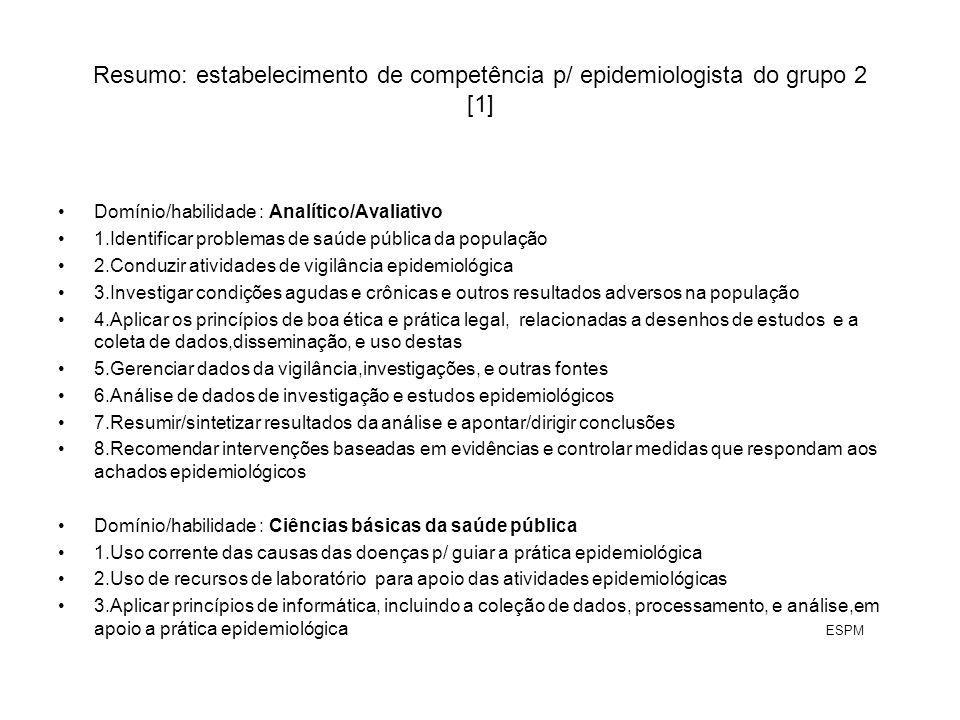 Resumo: estabelecimento de competência p/ epidemiologista do grupo 2 [1]